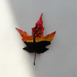 sunset tree leaf painting