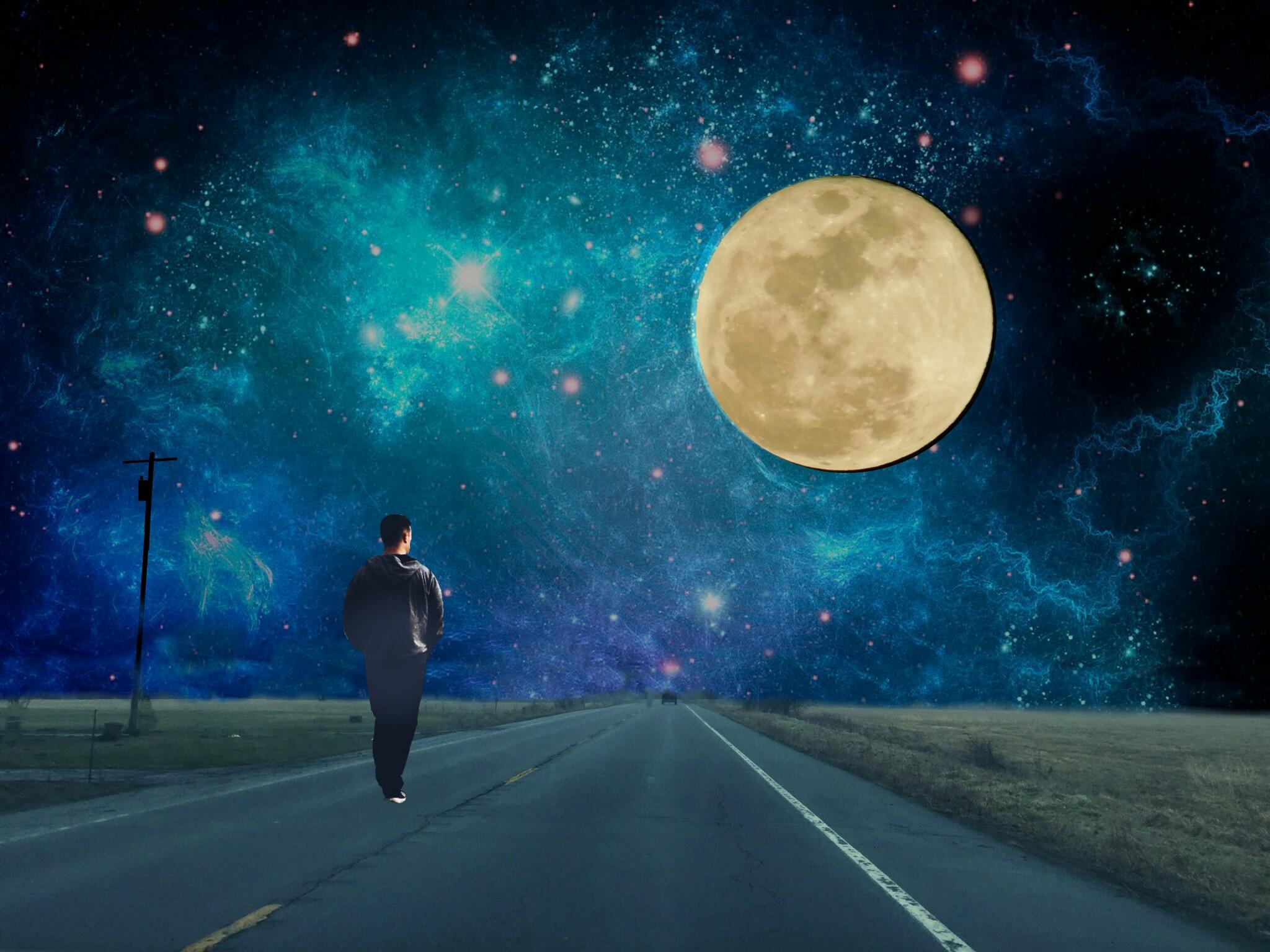 Картинки дорога под луной картинки