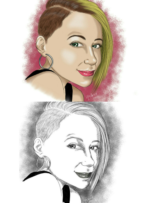 New portrait, 2 versions. Which one do you like better? #digitalart #drawing #artflow #artist #sketch #colorful #portrait