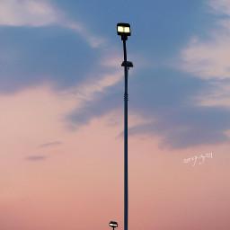 evening dusk sky cloud streetlight freetoedit