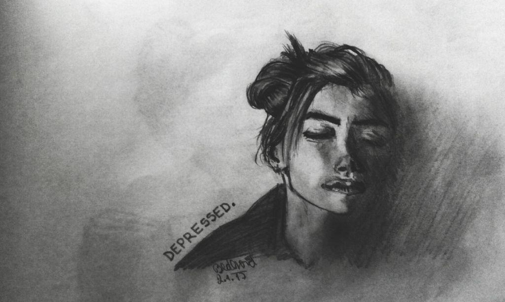 D E P R E S S E D Drawing Girl Tumblr Tumblgirl Blacka