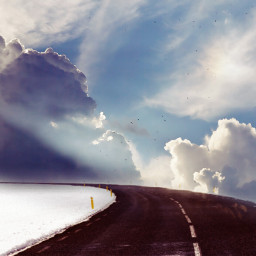 freetoedit remixed overlay clouds road.